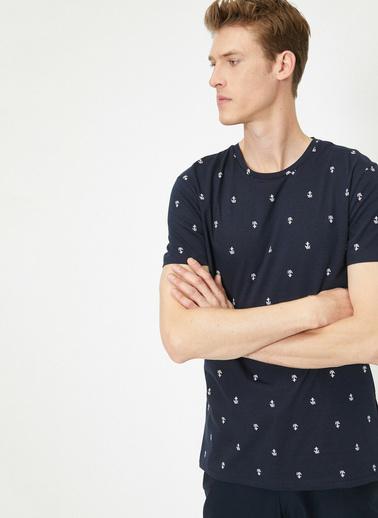Koton Baskılı T-Shirt Lacivert